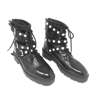 Black Combat Military Boots Zara Pearl & Leather